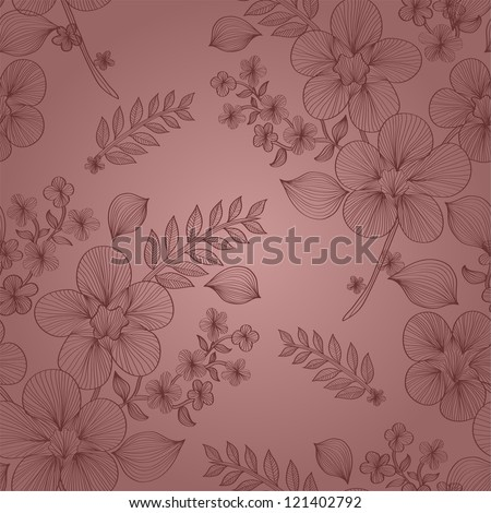 elegant seamless pattern with abstract flowers for your design - stock photo
