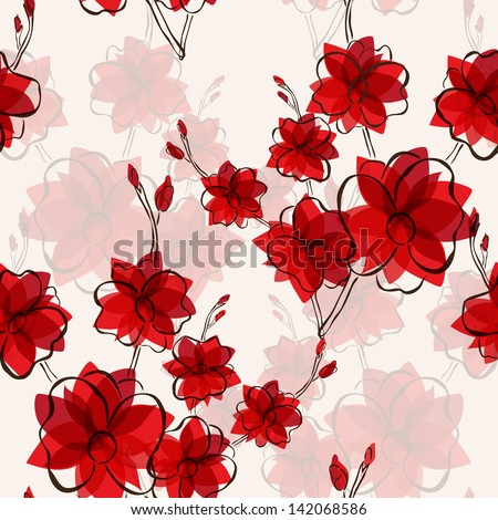 elegant seamless pattern with abstract red flowers for your design