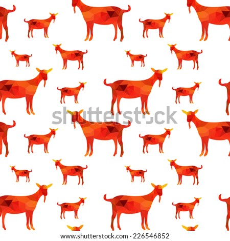 Elegant seamless pattern with decorative goats, design elements. Geometric triangles pattern for invitations, greeting cards, scrapbooking, print, gift wrap, manufacturing. New Year 2015 theme.