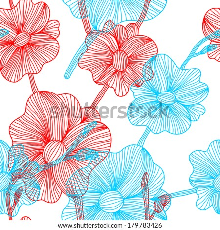 elegant seamless pattern with decorative orchid flowers, design element