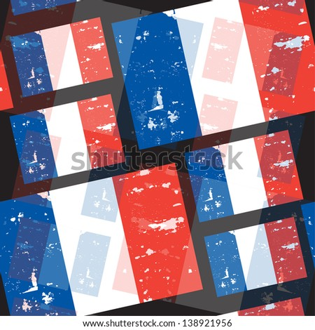 elegant seamless pattern with French Republic flag - stock photo
