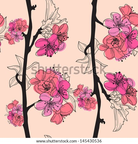 elegant seamless pattern with hand drawn cherry blossom for your design - stock photo