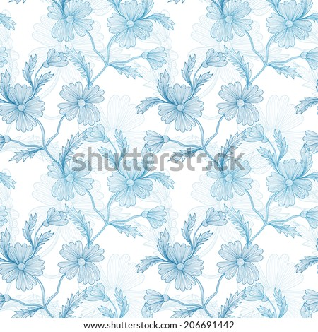 Elegant seamless pattern with hand drawn decorative cornflowers, design elements. Floral pattern for wedding invitations, greeting cards, scrapbooking, print, gift wrap, manufacturing. - stock photo