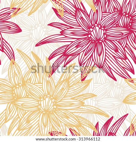 Elegant seamless pattern with hand drawn decorative gazania flowers, design elements. Floral pattern for wedding invitations, greeting cards, scrapbooking, print, gift wrap, manufacturing. - stock photo