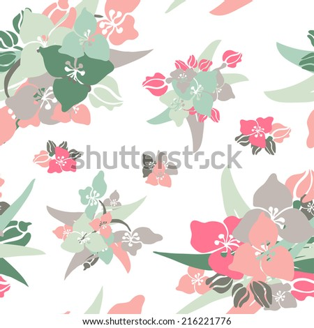 Elegant seamless pattern with hand drawn decorative lily flowers, design elements. Floral pattern for wedding invitations, greeting cards, scrapbooking, print, gift wrap, manufacturing.