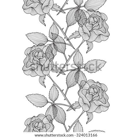 Elegant seamless pattern with hand drawn decorative rose flowers, design elements. Floral pattern for wedding invitations, greeting cards, scrapbooking, print, gift wrap, manufacturing. - stock photo