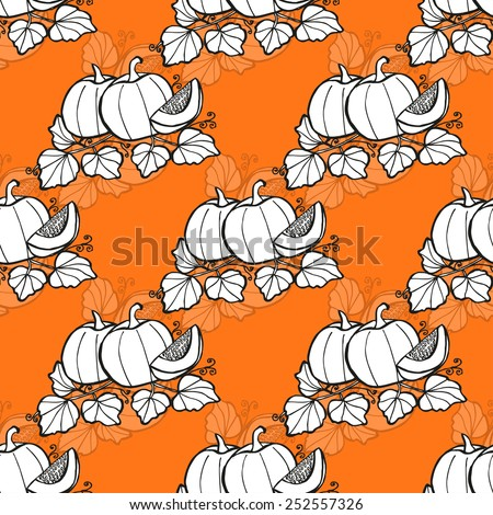 Elegant seamless pattern with hand drawn pumpkins, design elements. Can be used for invitations, greeting cards, scrapbooking, print, gift wrap, manufacturing. Food background