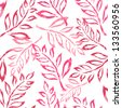 elegant seamless pattern with pink leaves for your design - stock vector