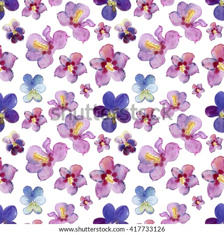 Elegant seamless pattern with watercolor painted pink violet flowers, design elements. Floral pattern for wedding invitations, greeting cards, scrapbooking, print, gift wrap, manufacturing - stock photo
