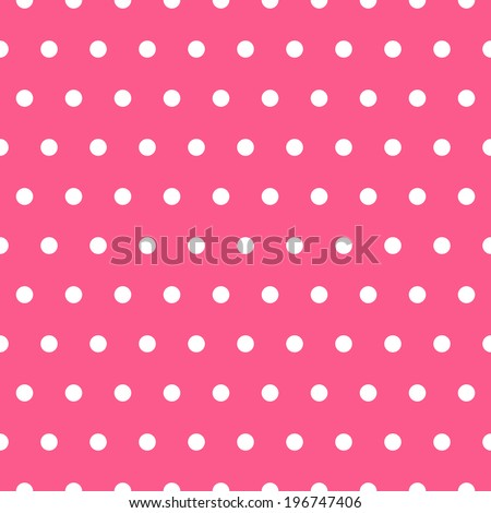 elegant seamless pattern with white polka dots, design element. Scrapbook, baby shower and wedding cards background. Pink strawberry background - stock photo