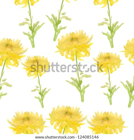 Elegant seamless pattern with yellow flowers, watercolor.
