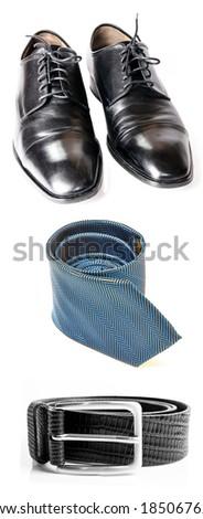 Elegant set: blue necktie, blue shoes, black belt - stock photo