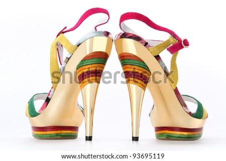 Elegant shiny shoes on the white - stock photo