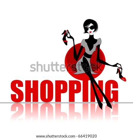 Elegant shopping woman - stock photo