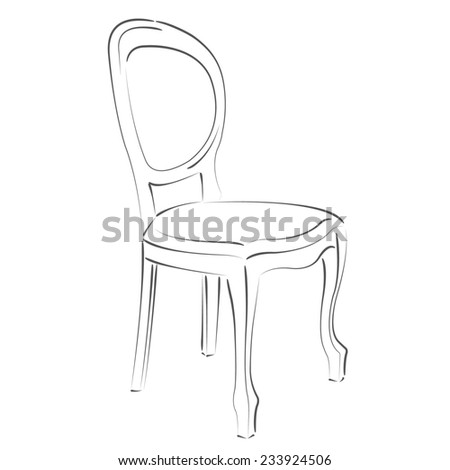 Elegant sketched chair. Design template for label, banner, badge, logo. Raster illustration. - stock photo