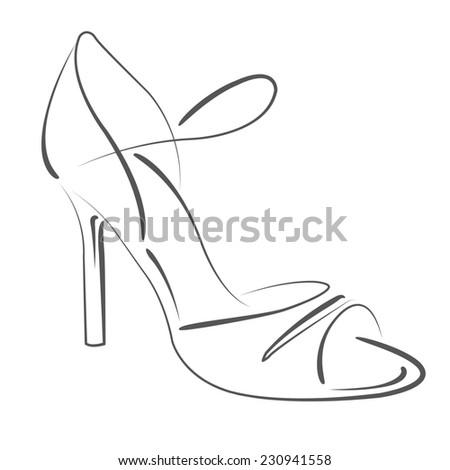 Elegant Sketched Womans Shoe Argentine Tango Stock Illustration ...