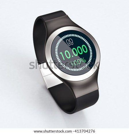 elegant smartwatch with a pedometer app, bright background (3d render)