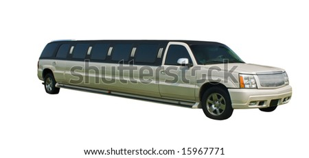 elegant, stretched pearl white limo with clipping path - stock photo