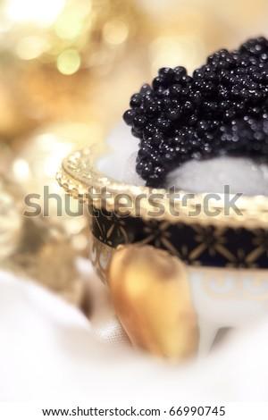 Elegant styling black caviar on ice, still life. Macro. - stock photo