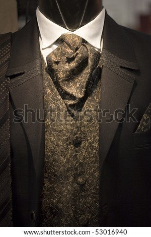 elegant suit on shop mannequins - stock photo