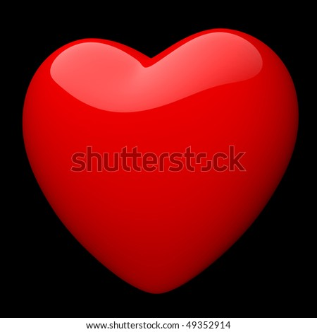 Elegant symbol of red heart on black background. There is a clipping path - stock photo