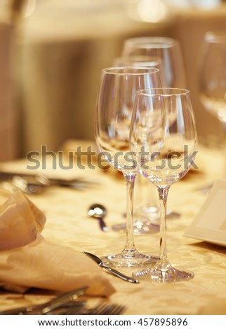 Elegant table set up for dinning room - stock photo