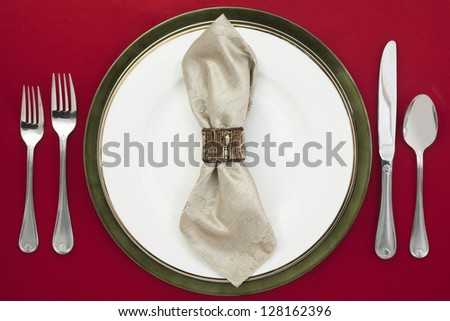 Elegant Table Settings isolated on - stock photo