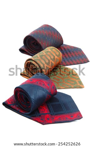 Elegant ties isolated on white background. - stock photo
