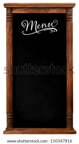 Elegant tool antique wooden picture frame chalkboard blackboard used as Menu isolated on a white background with copy space - stock photo