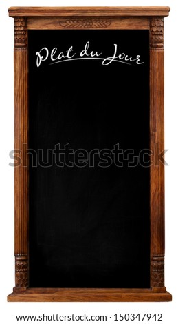 Elegant tool antique wooden picture frame chalkboard blackboard used as Plate du Jour isolated on a white background with copy space - stock photo