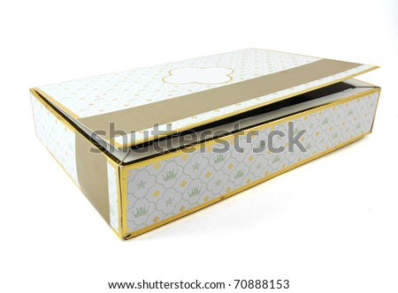 elegant valentine chocolate box isolated over white background - stock photo