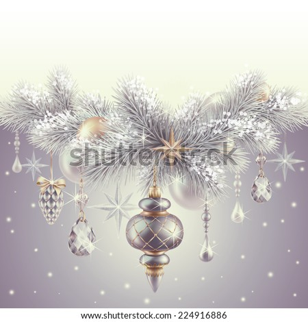 elegant vintage banner, Christmas tree ornaments and decorations background, winter holiday illustration - stock photo