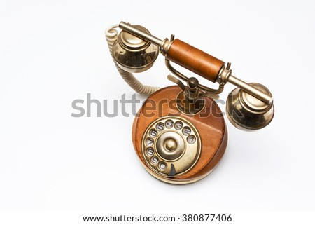 Elegant vintage phone on white background