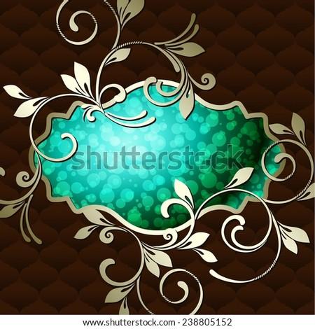 Elegant vintage rococo label in dark green (jpg); eps10 version also available - stock photo