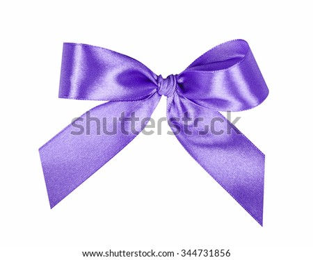 Elegant violet, lilac gift ribbon bow, satin, isolated on white - stock photo