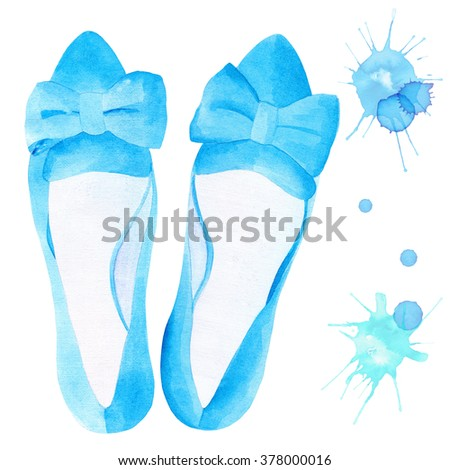 Elegant watercolor woman's blue flat ballet shoes with ribbons. Watercolor splash splatter. Hand drawn.