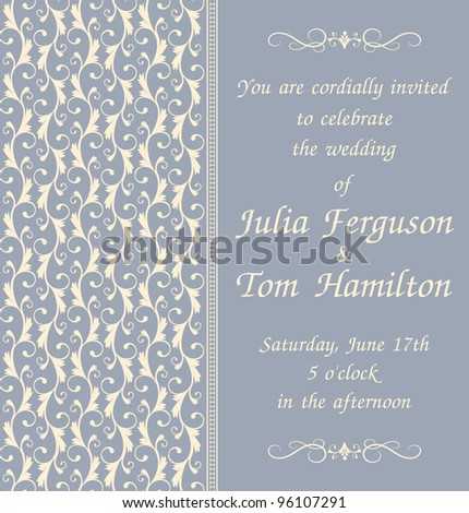 Elegant wedding invitation template in blue. Vector version also available.