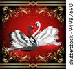 Elegant white and black swan on red background with golden ornament. Raster version of vector. - stock photo