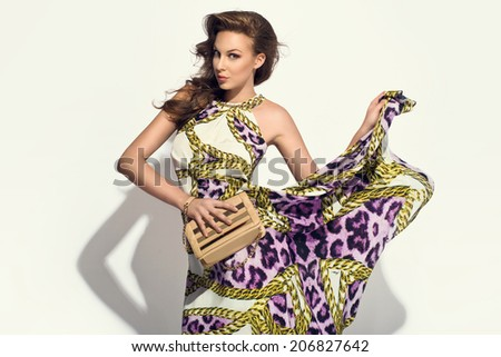 elegant woman in fancy dress posing with handbag at the studio. Cheetah pattern  - stock photo