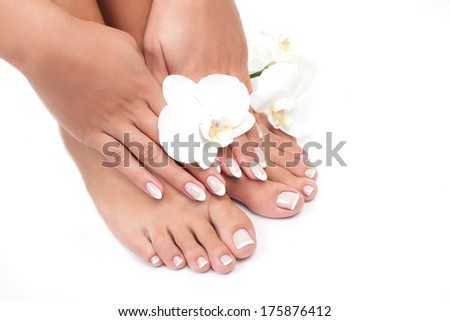 Elegant woman's manicured hand and pedicured feet with orchid flower - stock photo