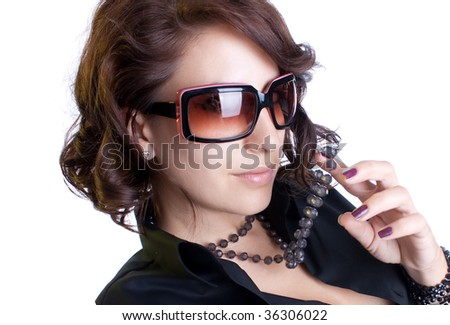 Elegant woman with sunglasses , white background