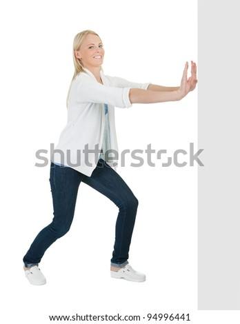 Elegant women pushing copyspace - stock photo