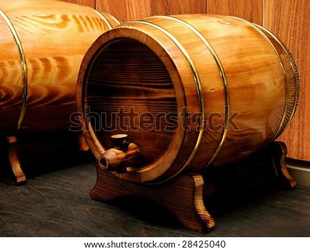 elegant wood barrel - stock photo