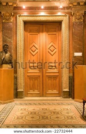 elegant wood door in the castle - stock photo