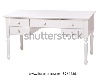 Elegant writing desk isolated over white, with clipping path - stock photo