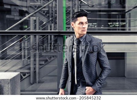 Elegant young handsome man. Fashion portrait. - stock photo