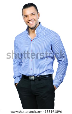 Elegant young handsome smiling man portrait - stock photo