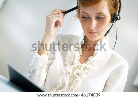 elegant young woman in the office - stock photo
