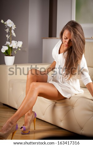 Woman Sitting Legs Crossed Stock Images Royalty Free