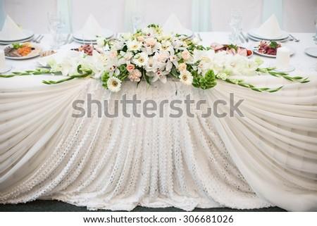 elegantly decorated restaurant for celebrating weddings, style, design, Lviv - stock photo